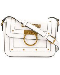 Love Moschino Stud Detail Logo Plaque Satchel Bag - White