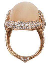 Inbar 18kt Rose Gold Cabochon Moonstone And Diamond Ring - Metallic
