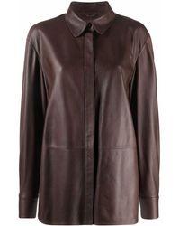 DESA NINETEENSEVENTYTWO Concealed Leather Shirt - Brown