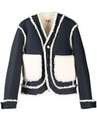Thom Browne Reversible Shearling Leather Jacket - White