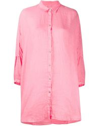 120% Lino Hemd mit Knopfleiste - Pink
