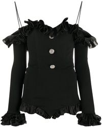 Alessandra Rich ラッフル ジャンプスーツ - ブラック