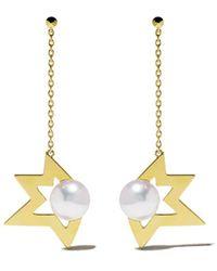 Tasaki - 'comet' Akoya Pearl 18k Yellow Gold Chain Drop Earrings - Lyst