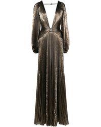 Oscar de la Renta Pleated Lamé Gown - Metallic