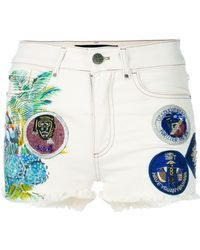 Mr & Mrs Italy Patched Denim Shorts - White