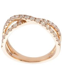 Marchesa 18kt Rose Gold Diamond Cross-over Double Band - Metallic