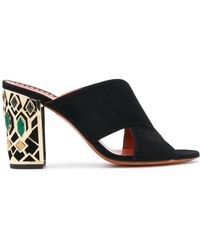 Santoni Embellished heel sandals - Schwarz