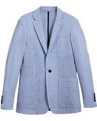 Burberry - Slim Fit Cotton Blend Seersucker Tailored Jacket - Lyst