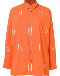 Suzusan Bleached Effect Shirt - Orange