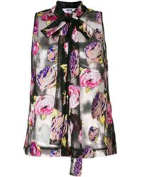 MSGM Bluse mit floralem Design - Schwarz