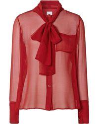 Burberry Blusa semi trasparente - Rosso