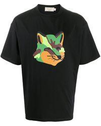 Maison Kitsuné T-Shirt mit Neon-Print - Schwarz