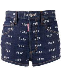 DSquared² Short en jean à logo imprimé - Bleu