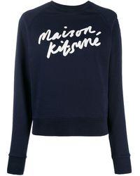 Maison Kitsuné Logo Print Sweatshirt - Blue