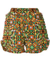 LaDoubleJ - Ruched Ruffle Shorts - Lyst