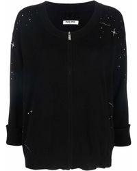 Max & Moi Rhinestone Embellished Zip-up Cardigan - Black