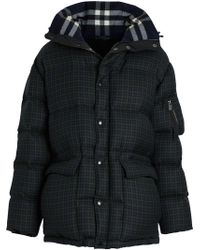 Burberry - Check Wool Down-filled Hooded Jacket - Lyst