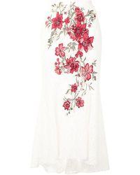 Marchesa フローラル Aラインスカート - ホワイト