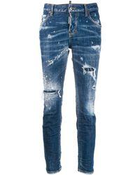 DSquared² Schmale Distressed-Jeans - Blau