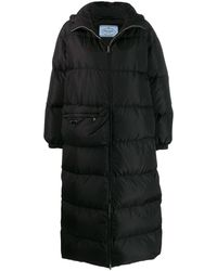 Prada Long Padded Coat - Black