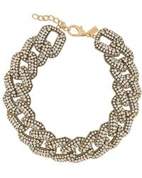 Moschino Chunky Chain Crystal-embellished Necklace - Metallic