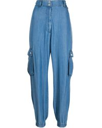 Twin Set Cargo Pocket Tapered-leg Pants - Blue