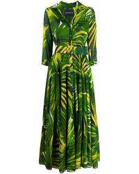Samantha Sung Aster Tropical-print Long Dress - Green