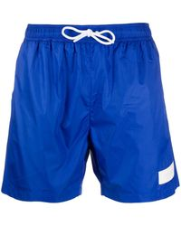 Dondup Logo Patch Swim Shorts - Blue
