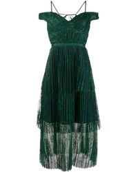 Self-Portrait Robe plissée à détail de dentelle - Vert