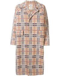 Coohem Button Down Tartan Tweed Coat - Brown