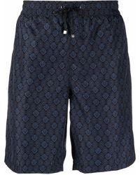Billionaire Lion Head-motif Drawstring-waist Swim Shorts - Blue
