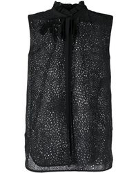 N°21 Brooch Detail Pussy Bow Blouse - Black