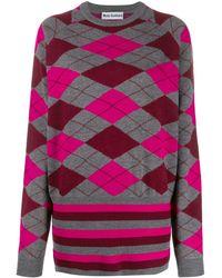 Molly Goddard Argyle Knit Sweater - Gray