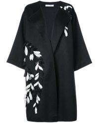 Oscar de la Renta - Sequinned Flower Embroidered Coat - Lyst