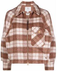Woolrich チェック ボンバージャケット - ブラウン