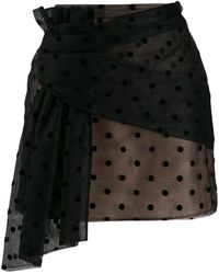 N°21 Polka-dot Mesh Mini Skirt - Black