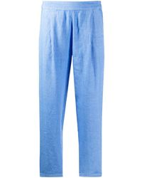 120% Lino Pantalones tapered de talle alto - Azul