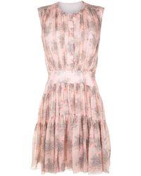 Chloé フローラル ギャザードレス - ピンク