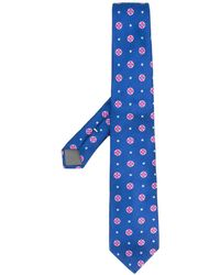 Canali Floral-print Silk Tie - Blue