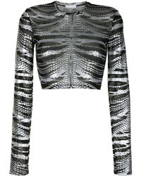 Area Crystal-print Cropped Top - Black