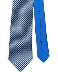Prada Corbata con motivo micro - Azul