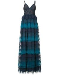 Marchesa notte - Ruffled Ombré Lace Gown - Lyst