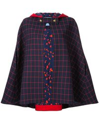 Macgraw - Checked Cape Jacket - Lyst