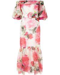 Marchesa Вечернее Платье С Цветочным Принтом И Поясом - Розовый