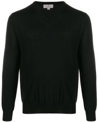 Canali V-neck Long-sleeve Jumper - Black