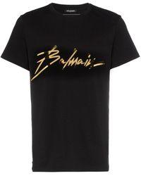 Balmain T-shirt à logo métallisé - Noir