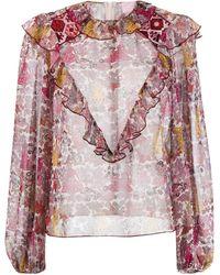 Giamba Sheer Floral Print Blouse - Pink