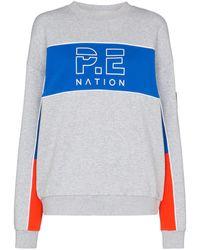 P.E Nation Sonic Stripe Jersey Jumper - Gray