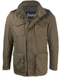 Herno Funnel-neck Short Military Jacket - Green