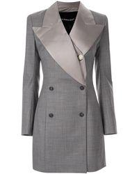 Y. Project Check Pattern Tuxedo Dress - Gray